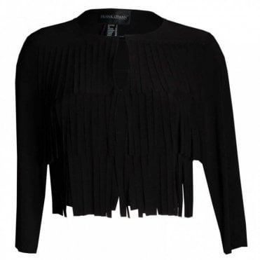 Long Sleeve Layered Fringe Crop Jacket