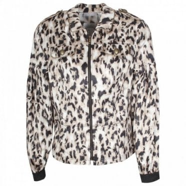 Long Sleeve Leopard Print Bomber Jacket