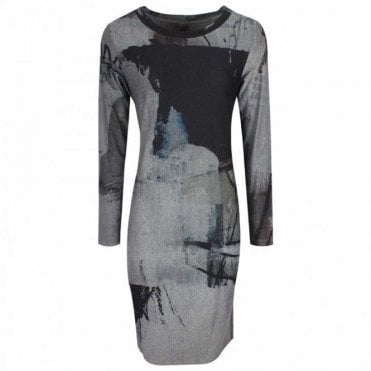 Long Sleeve Multi Print Jersey Dress