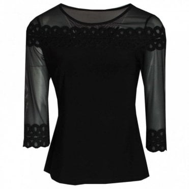 Long Sleeve Net & Jersey Top