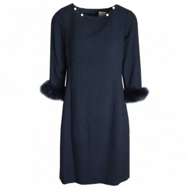 Long Sleeve Pearl & Fur Shift Dress