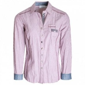 Long Sleeve Pin Stripe Fitted Shirt