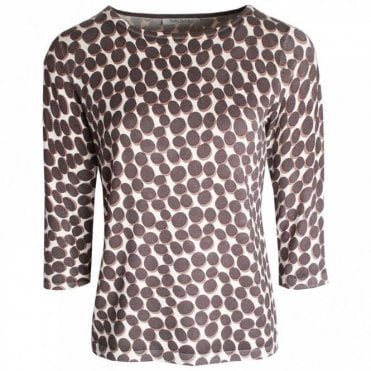 Long Sleeve Round Neck Spotted Top