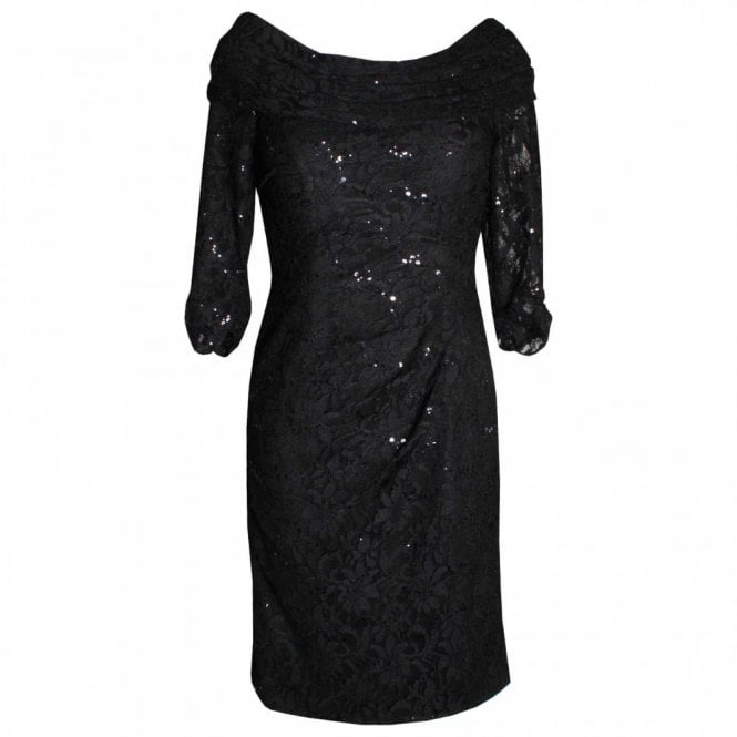 Dress Code By Veromia Long Sleeve Shawl Collar Lace Dress