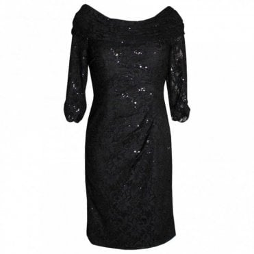 Long Sleeve Shawl Collar Lace Dress