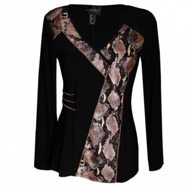 Long Sleeve Snake Print Panel Top