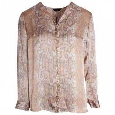 Long Sleeve Snake Skin Effect Blouse