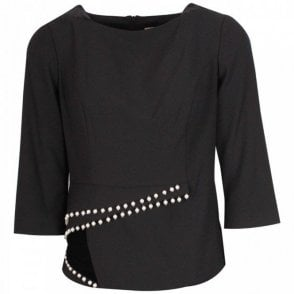 Long Sleeve Tailored Top With Pearls