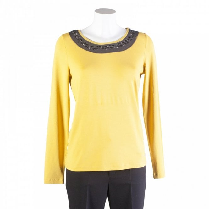 Tuzzi Long Sleeve Top With Studded Collar