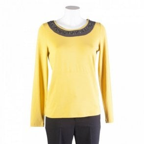 Long Sleeve Top With Studded Collar