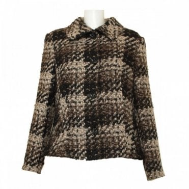 Long Sleeve Tweed Button Up Jacket