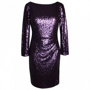 Long Sleeve V-back Sequin Dress