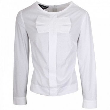 Badoo Long Sleeve White Shirt With Bow Detail