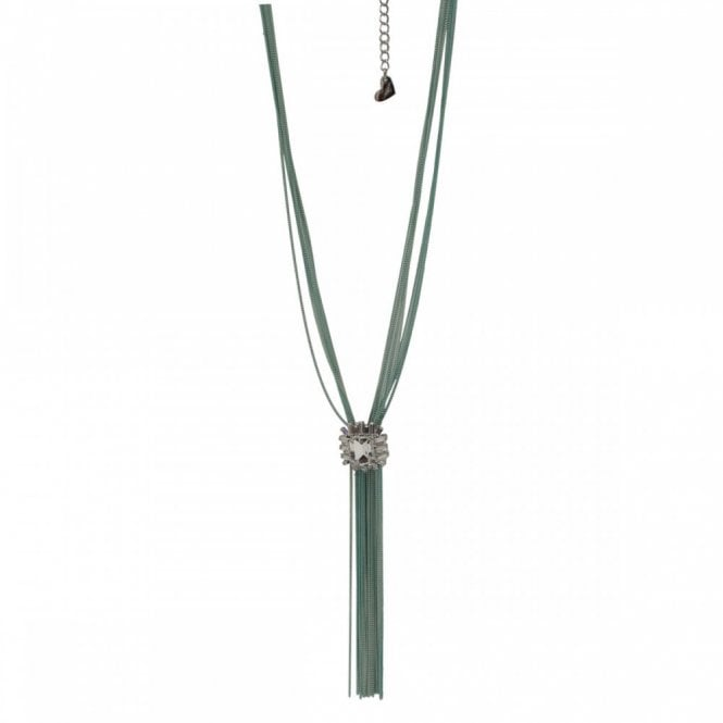 Nour London Long Tassel Tie Diamante Detail Necklace