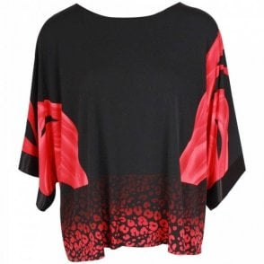 Frank Lyman Loose Fit Batwing Floaty Black Top