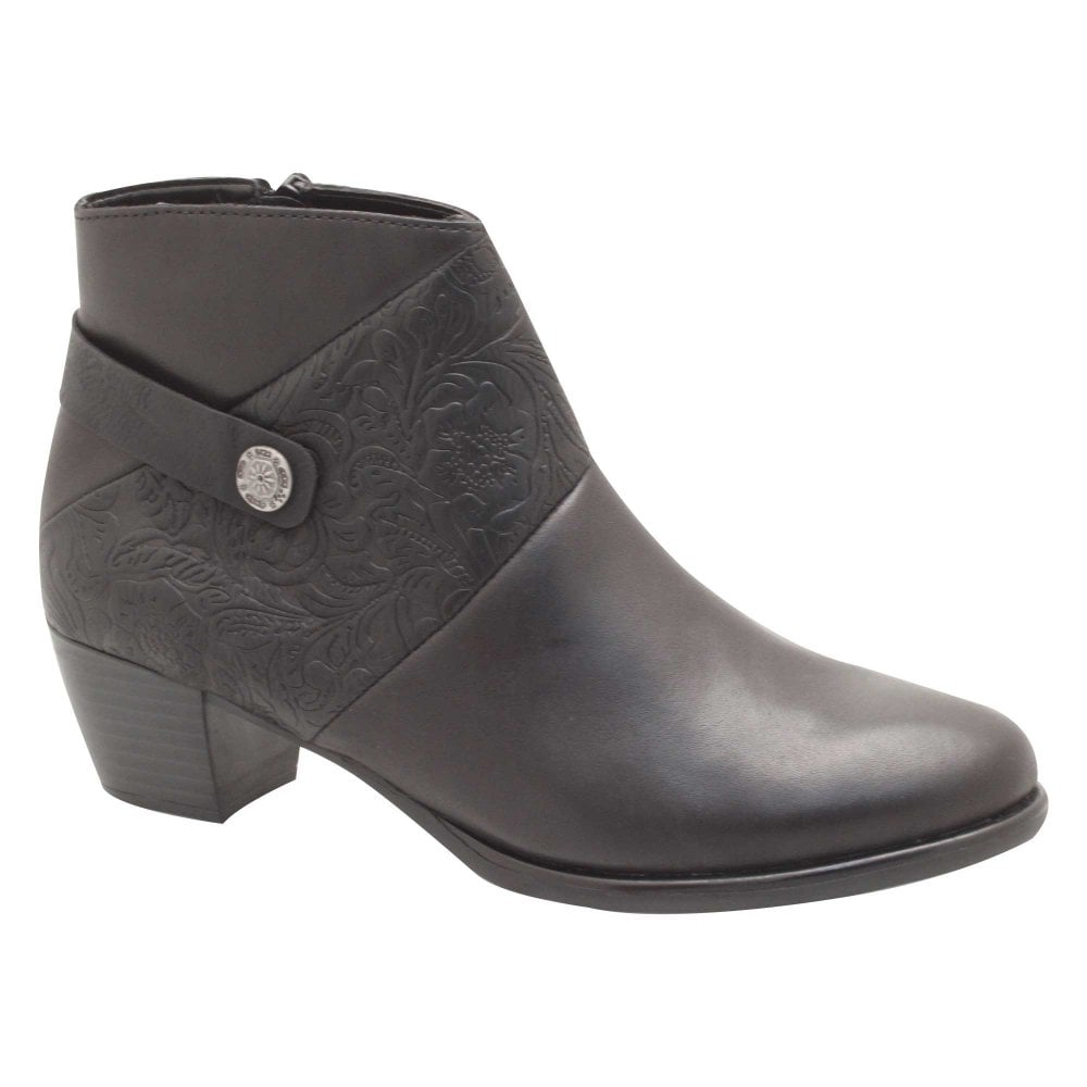 0b17ee499828 Low Block Heel Black Leather Ankle Boots By Remonte At Walk In Style