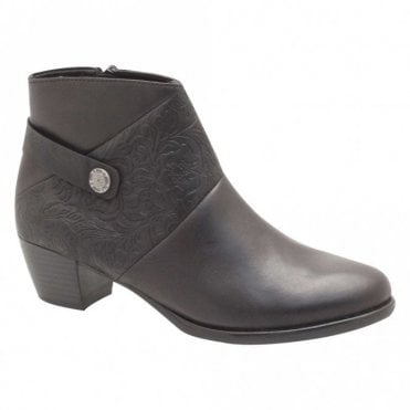 Remonte Low Block Heel Black Leather Ankle Boots