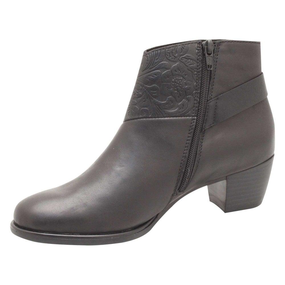 Low Block Heel Black Leather Ankle