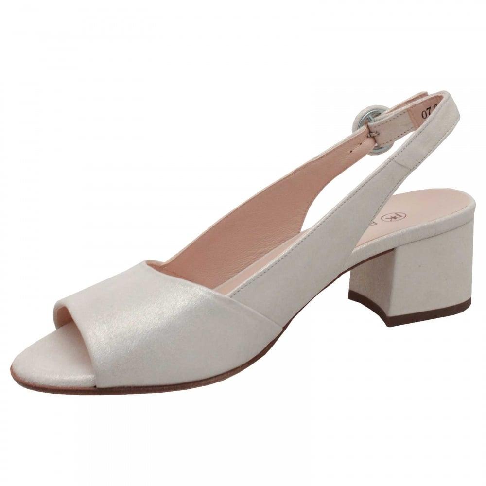 c2c85148fed Low Block Heel Peep Toe Sandal By Peter Kaiser At Walk In Style