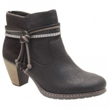 Rieker Low Block Knot Detail Heel Ankle Boots
