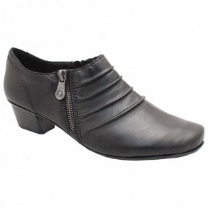 Rieker Low Heel Black Leather High Front Shoe