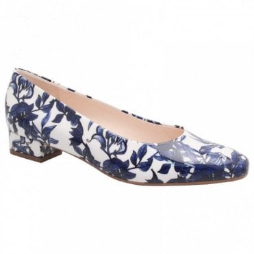 Low Heel Floral Print Court Shoe