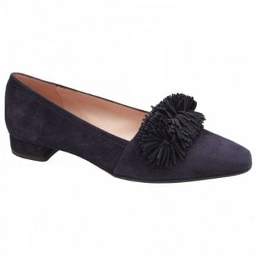 Low Heel Front Fringe Court Shoes