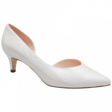 Low Heel Side Out Textured Court Shoe