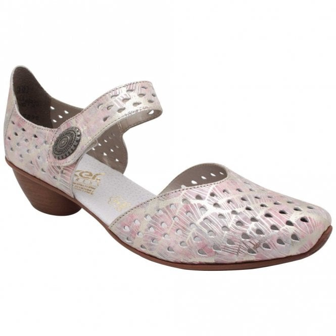 Rieker Low Heel Strap Over Perforated Multi Shoes