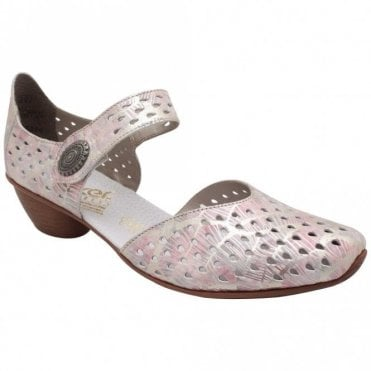 Rieker Low Heel Strap Over Perforated Shoes