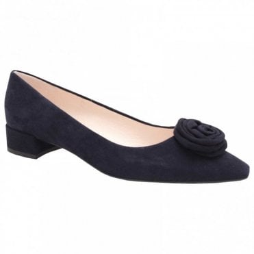 Low Heel Suede Rose Court Shoe