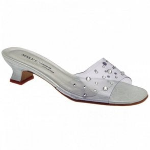 Low Mule Slip On Perspex Diamante Top