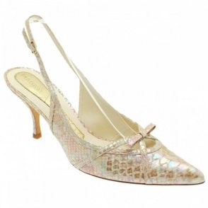 Metallic Pink Skin Sling Back Shoe