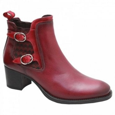 Medium Block Heel Red Leather Ankle Boot