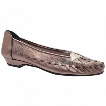 Metallic Leather Ballet Pump