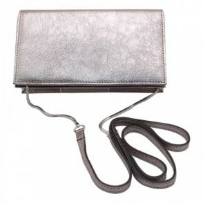 Abro Metallic Leather Evening Clutch Handbag