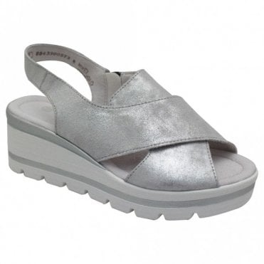 Remonte Metallic Open Toe Low Wedge Sandal