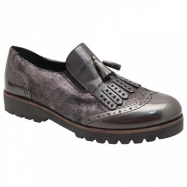 Remonte Metallic & Patent Tassle Brogue Shoes
