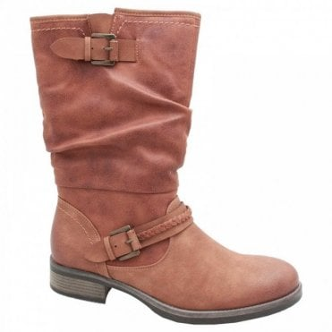 Mid-calf Brown Boot With Buckle Detail