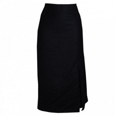 Mid Length Front Pleated Woven Skirt