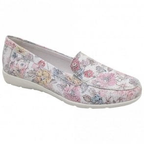Remonte Mosaic Floral Slip On Moccasin Shoe