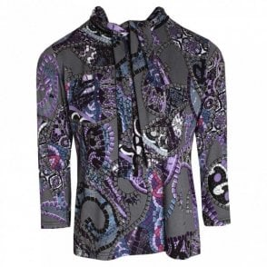 Hudson & Onslow Mosaic Printed Long Sleeve Top