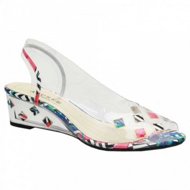 Motif Perspex Peep Toe Low Wedge