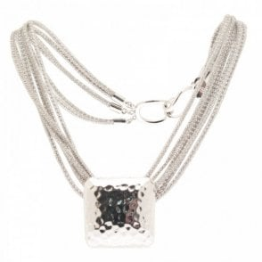 Multi Mesh Chain Square Pendant Necklace