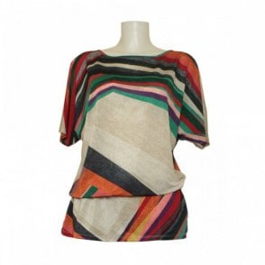 Multi Print Cutout Back Drawstring Tunic
