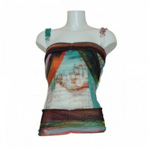Multi Print Top With Ruffle Detail Strap