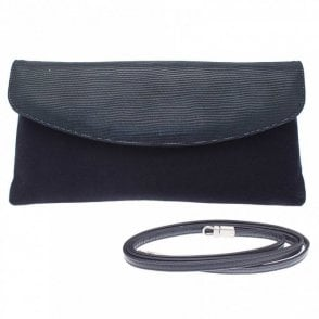 Peter Kaiser Navy Blue Clutch Bag With Shoulder Strap