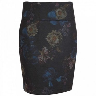 Up! Navy Blue Flower Print Pencil Skirt