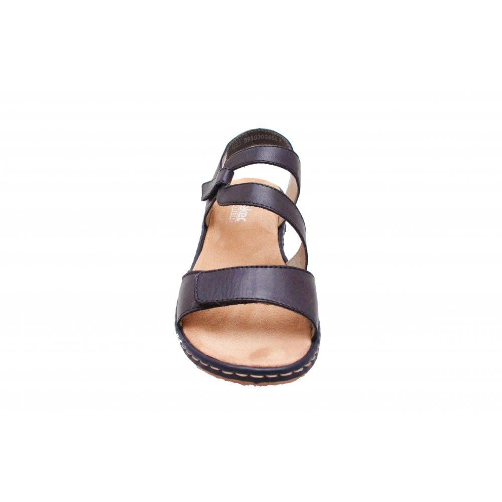 Navy Blue Open Toe Adjustable Sandal By