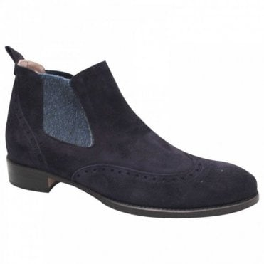 Navy Blue Suede Chelsea Ankle Boot